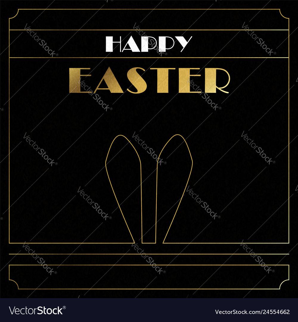Happy easter gold art deco card of bunny ears
