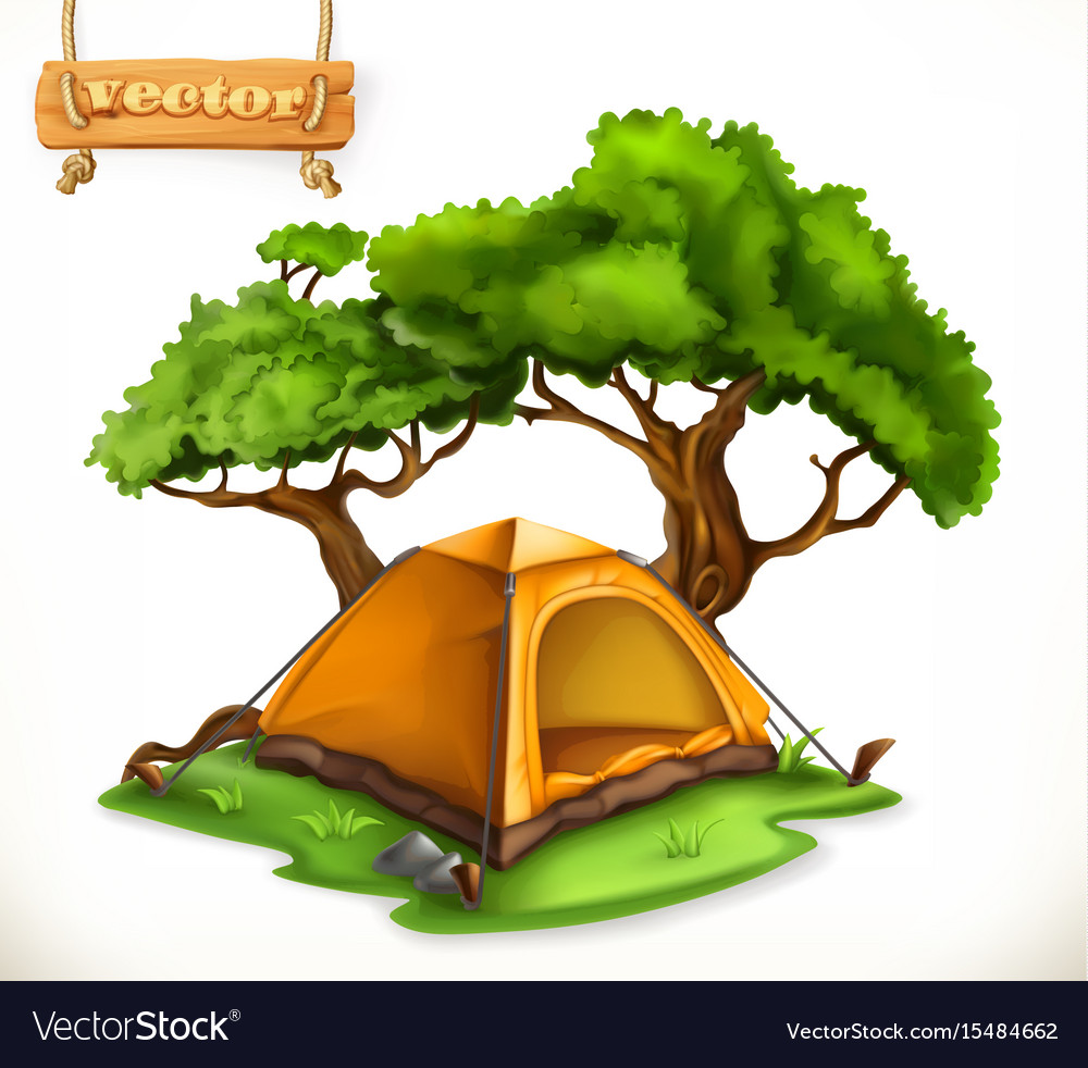 Hiking dome tent camping 3d icon