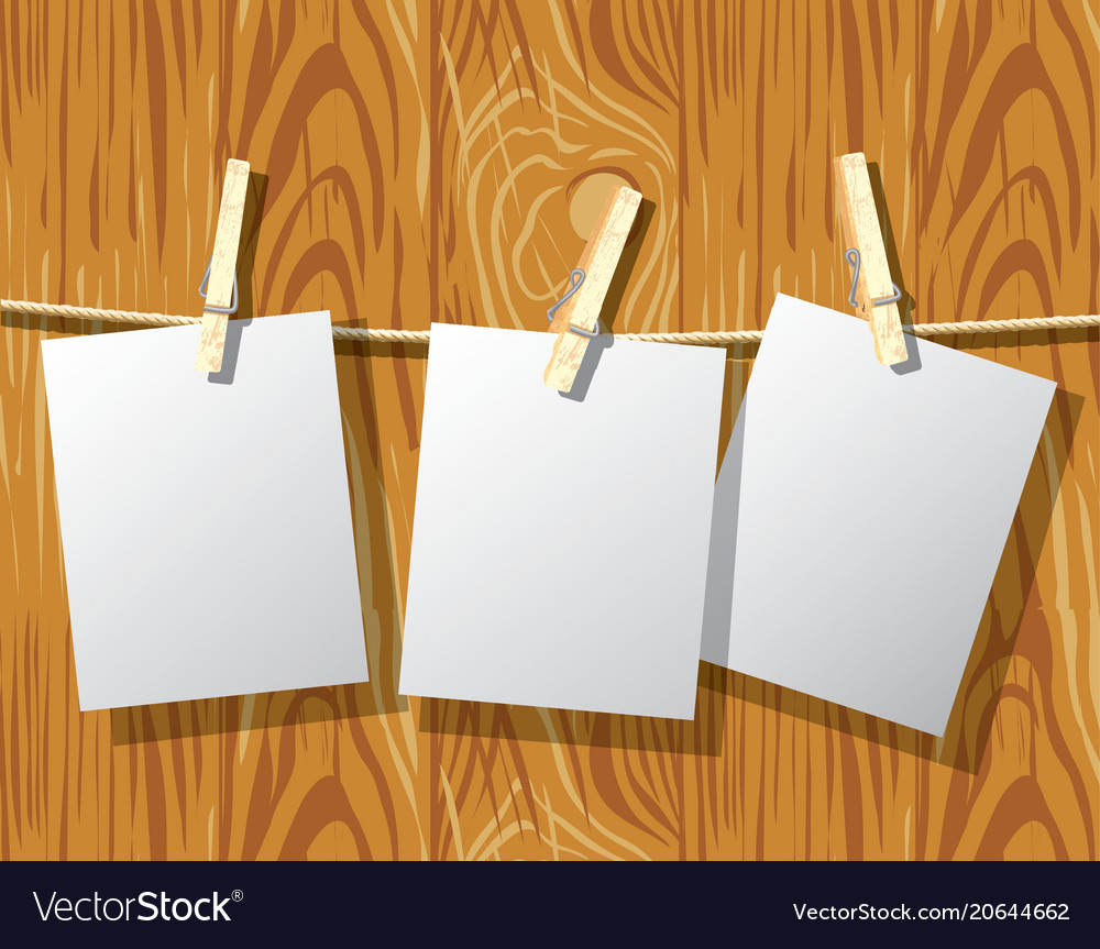 Mockup rope clothespins and wood wall background vector image