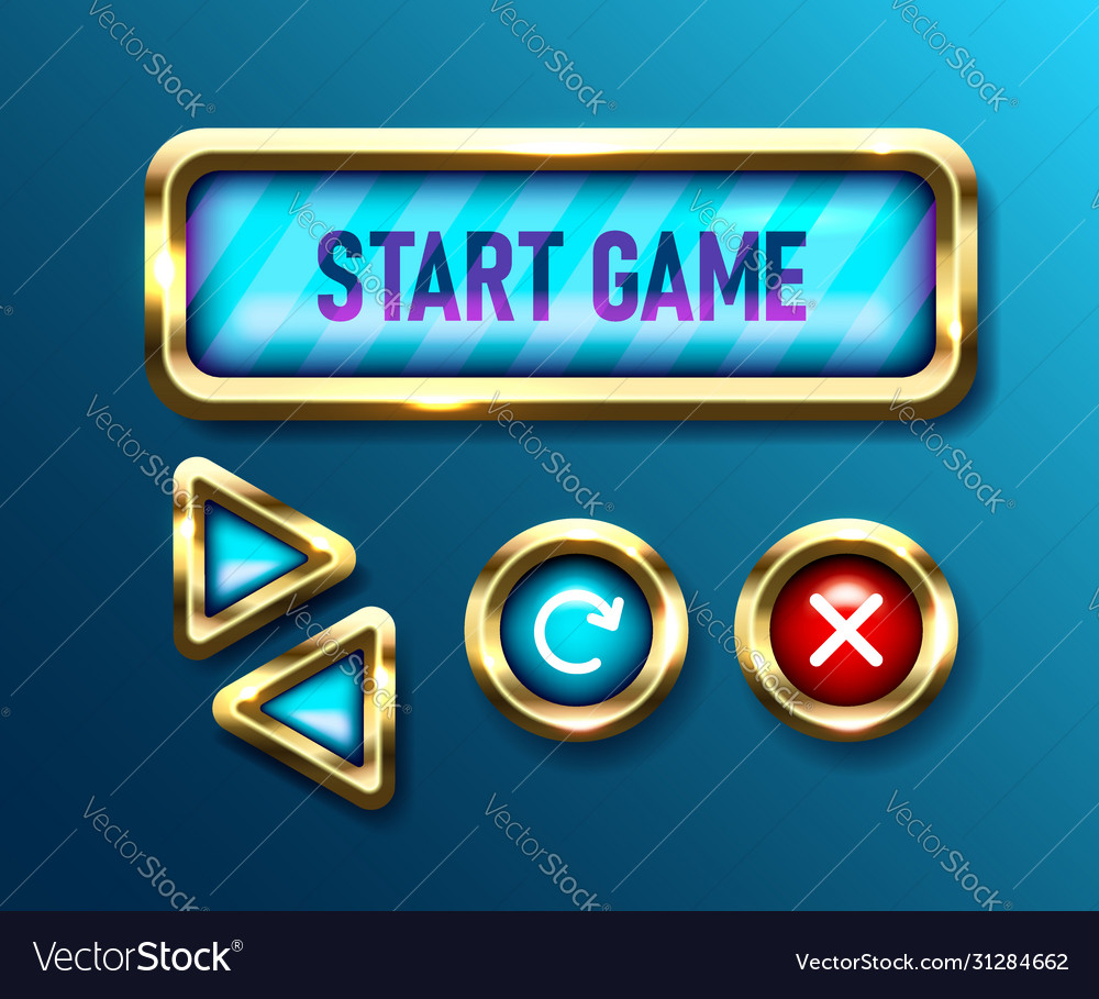 Realistic game buttons set on blue background