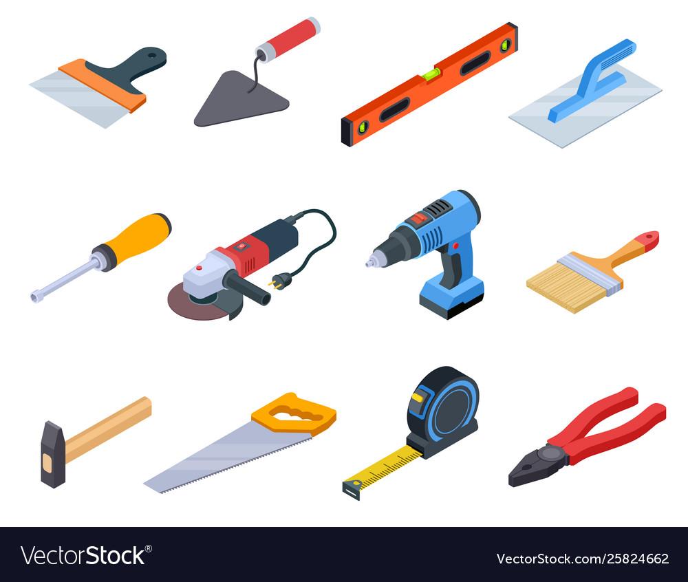 Repair tool isometric handyman construction tools