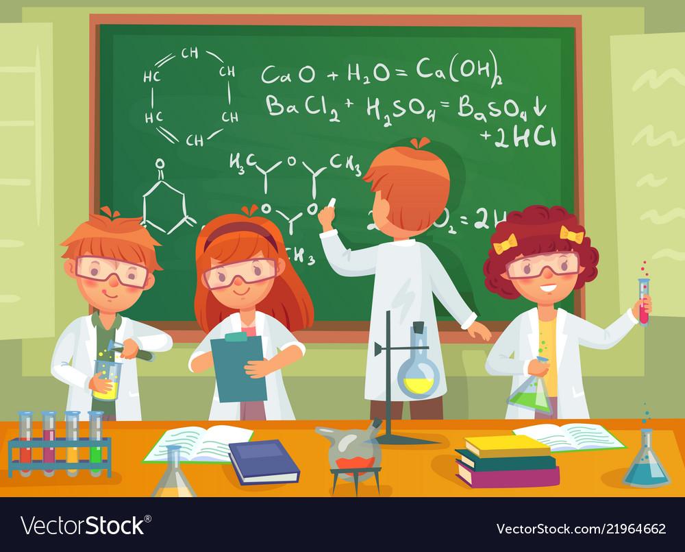 School kids study chemistry children pupils