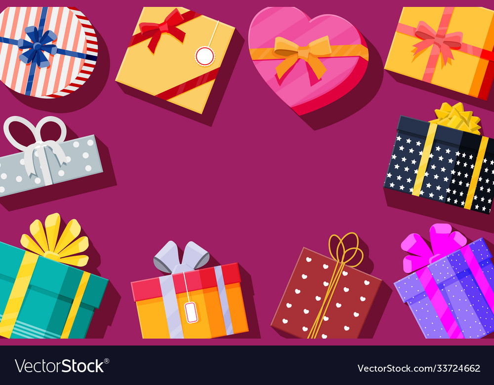 Set gift boxes on red background