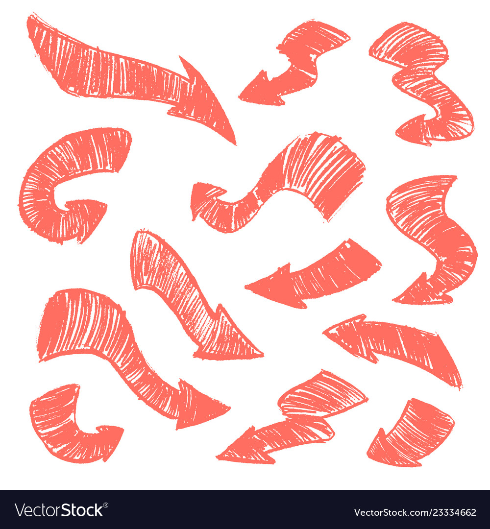 Set of hand-drawn doodle coral arrows on