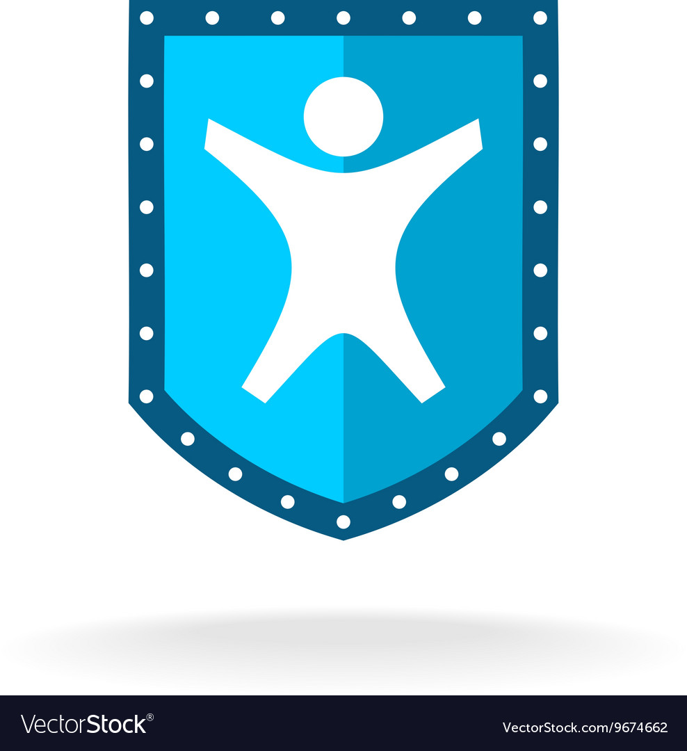 Shield with a happy secured man silhouette People vector image