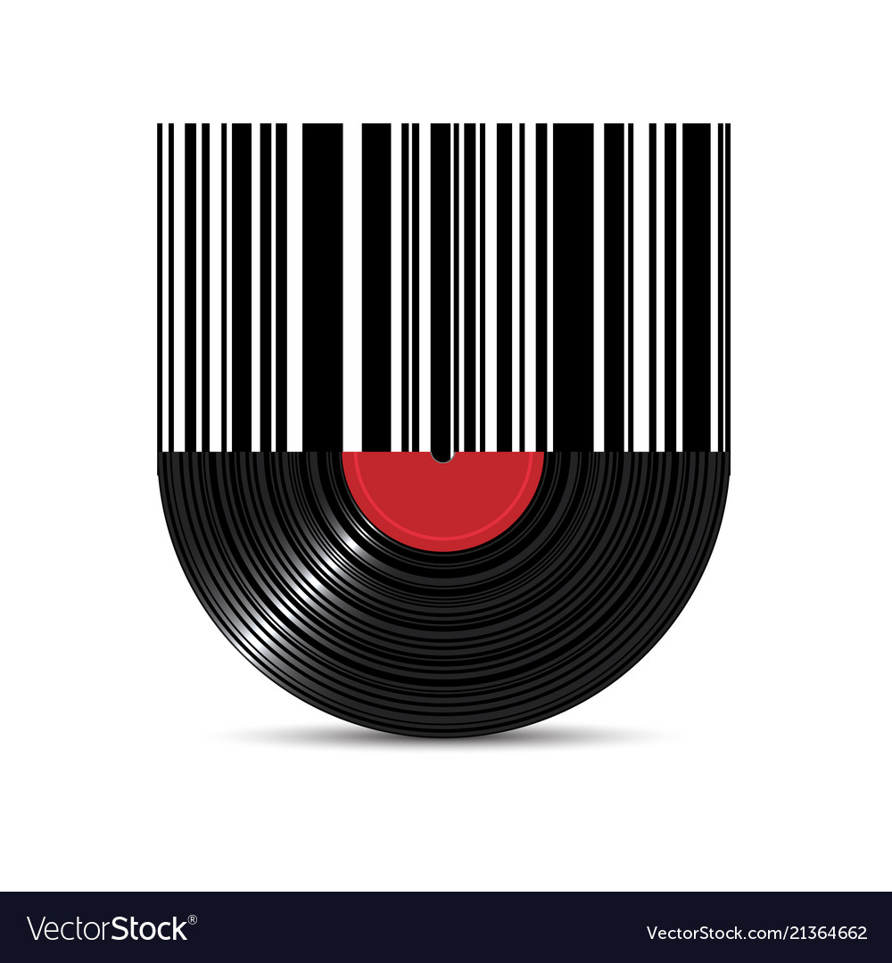 Vinyl disk record with barcode