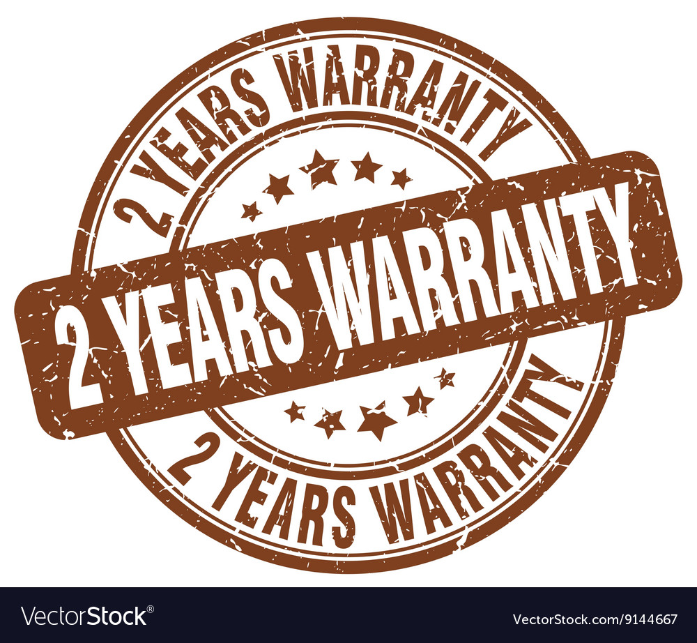 2 years warranty brown grunge round vintage rubber vector image