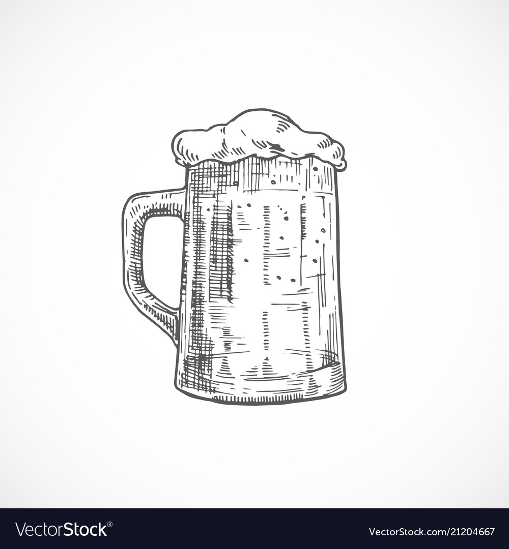 Beer mug with foam abstract sketch hand drawn vector image