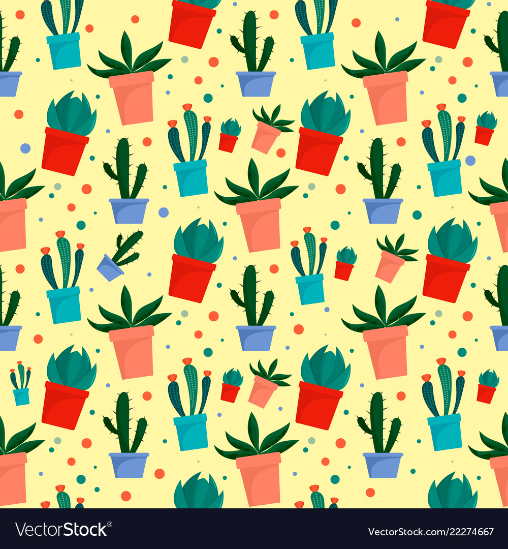Cactus pot pattern flat style