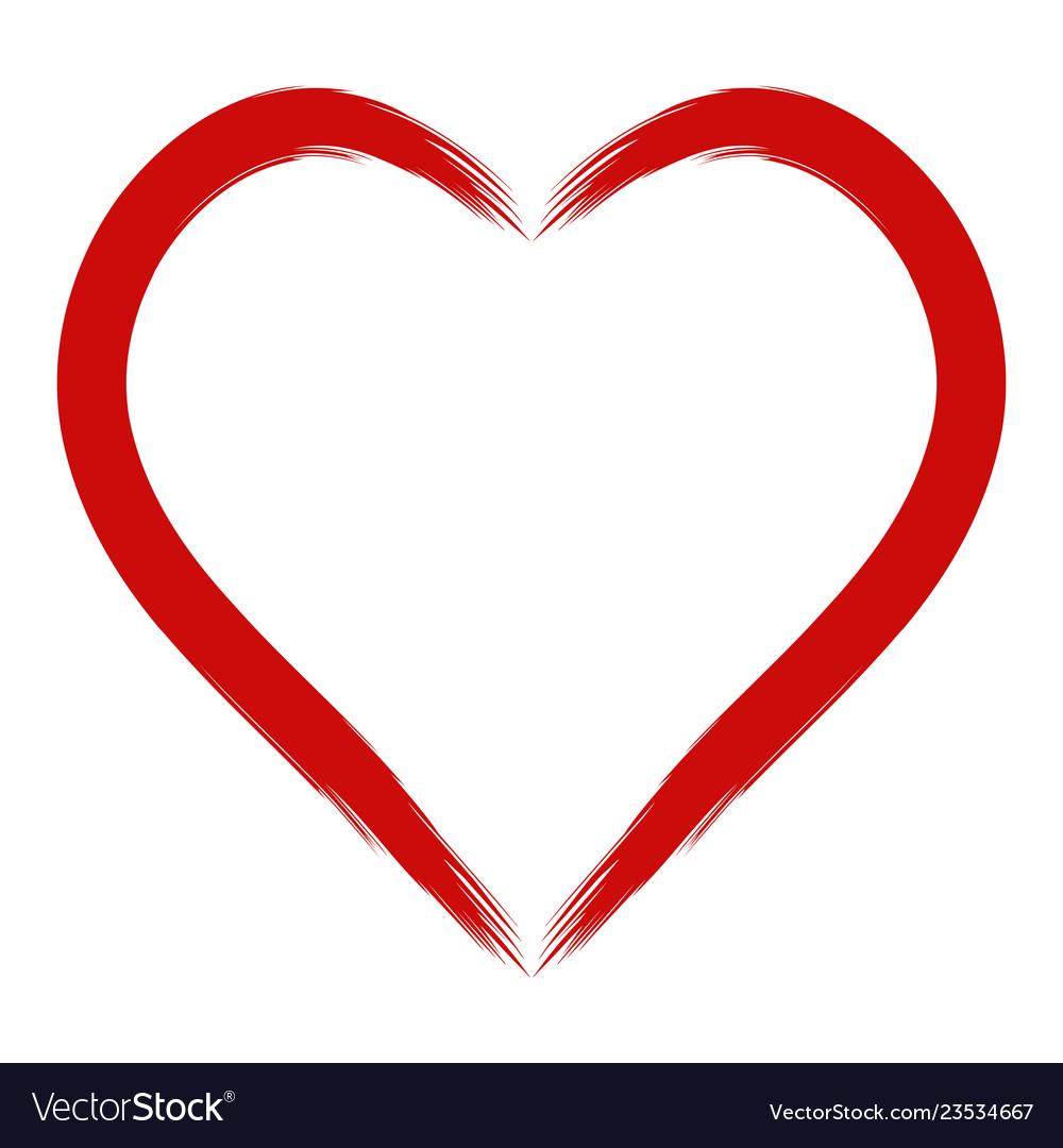 Contours red heart strip hand draw stiff brush