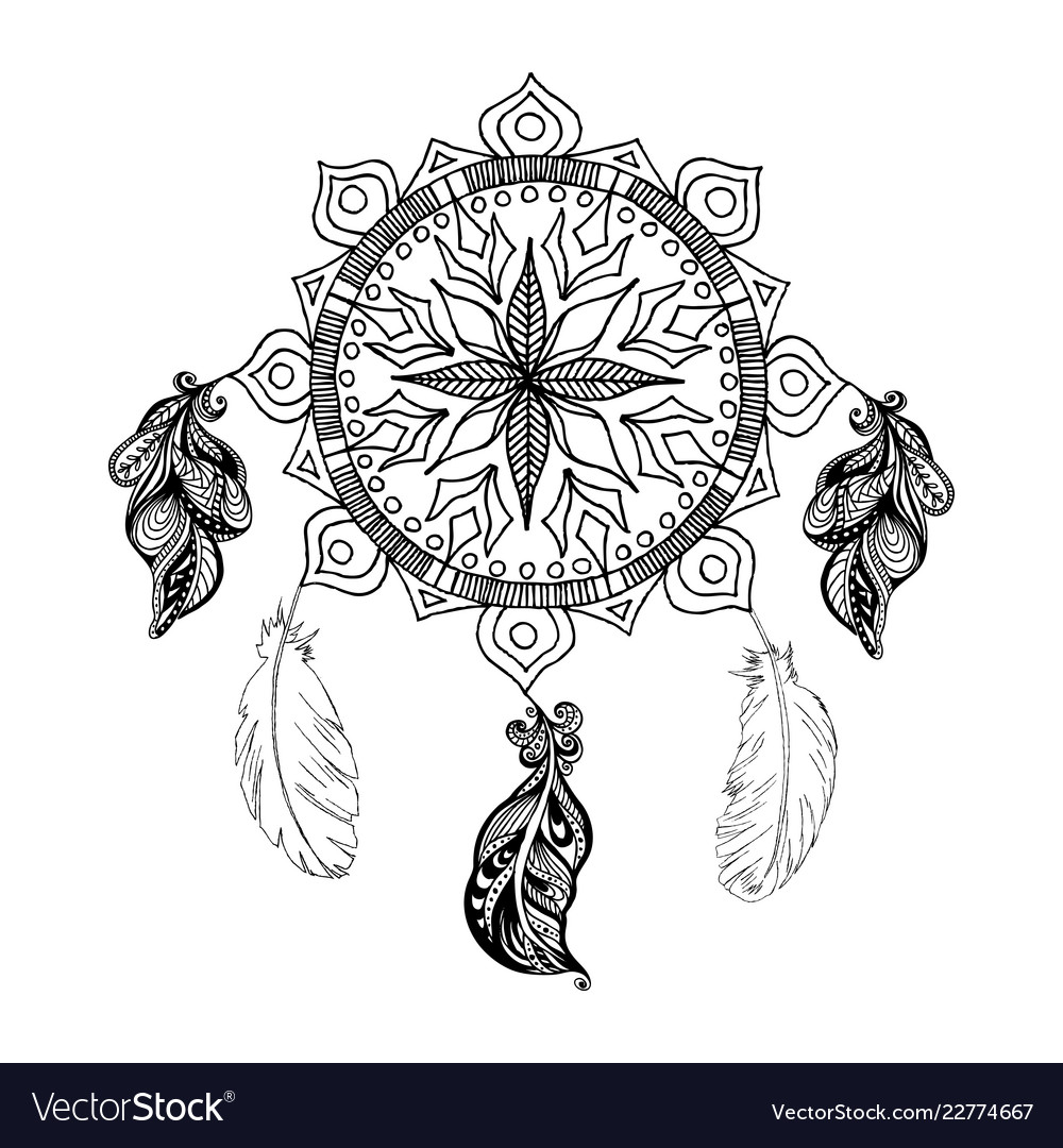 Dreams Catcher Mandala Boho Style Royalty Free Vector Image