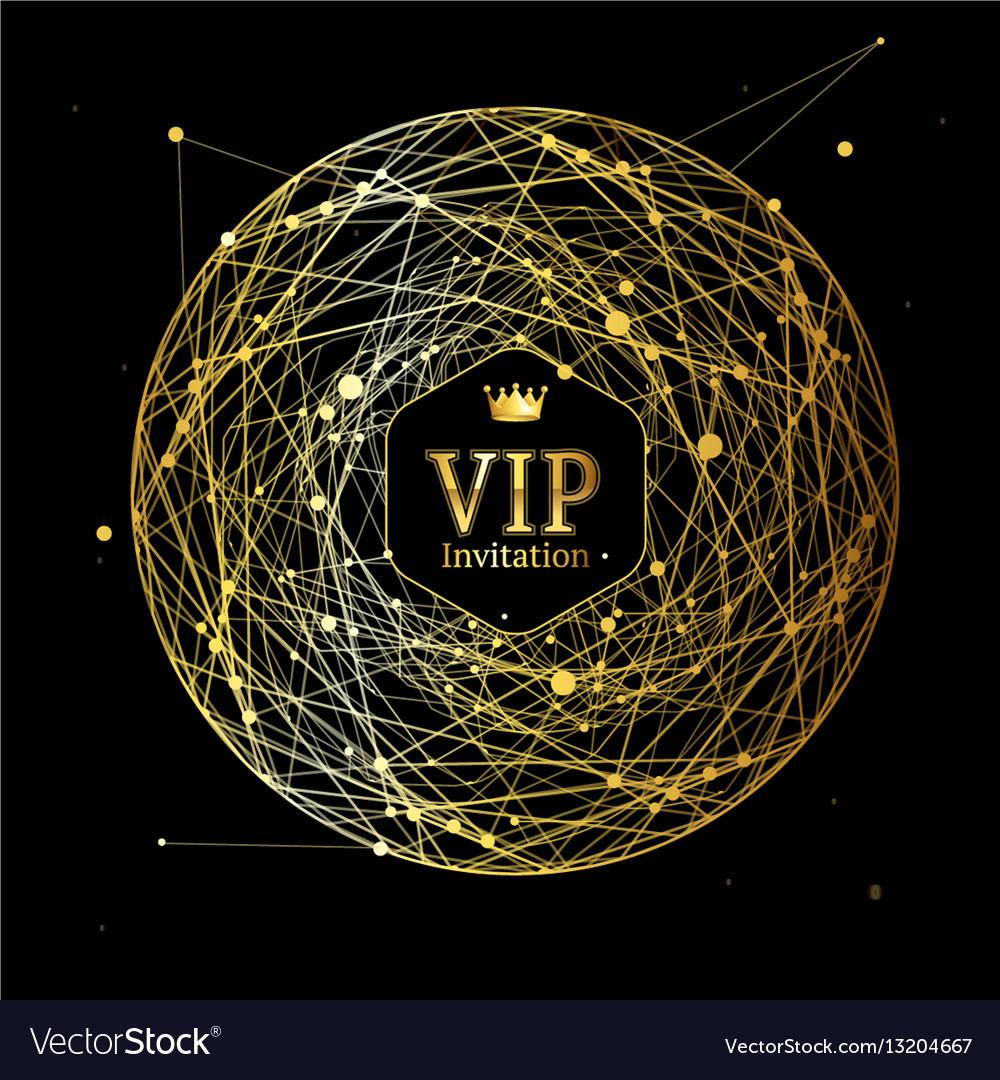 Golden vip round sphere dotted mesh background