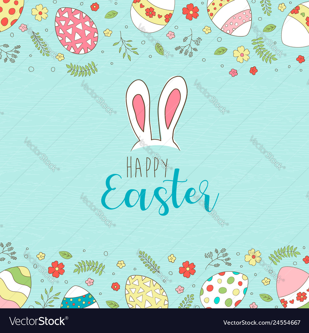 Happy easter card of spring egg hunt with flowers