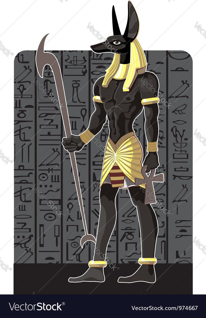 Mighty Great dark Anubis on dark Egypt background vector image