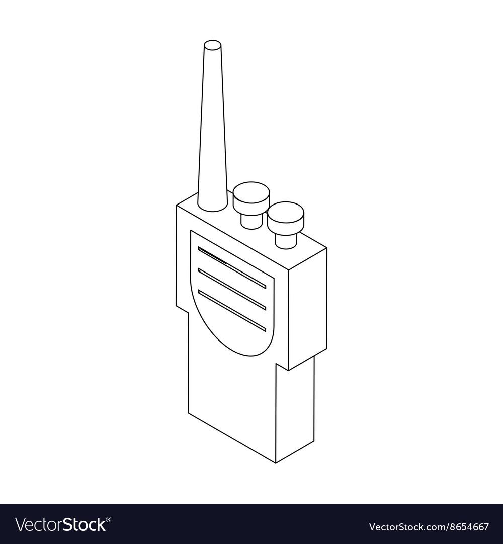 portable handheld radio icon in isometric 3d style vector image