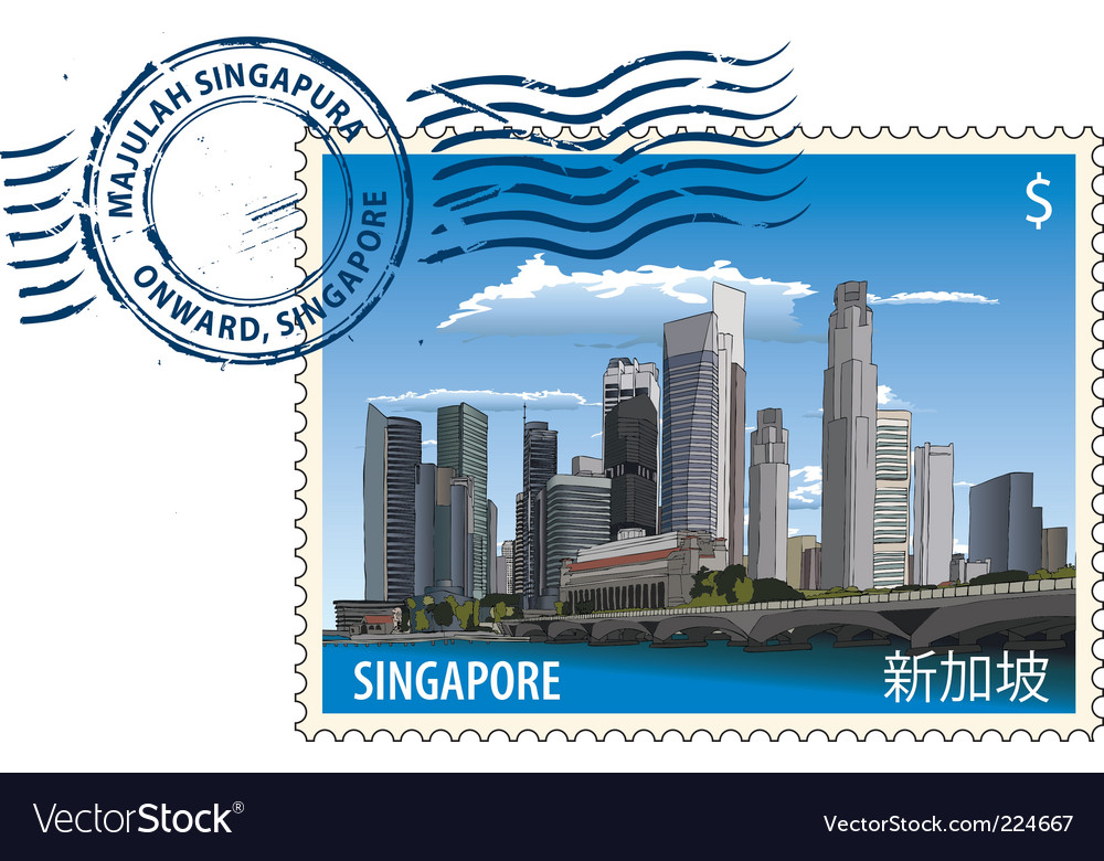 Postmark from Singapore vector image