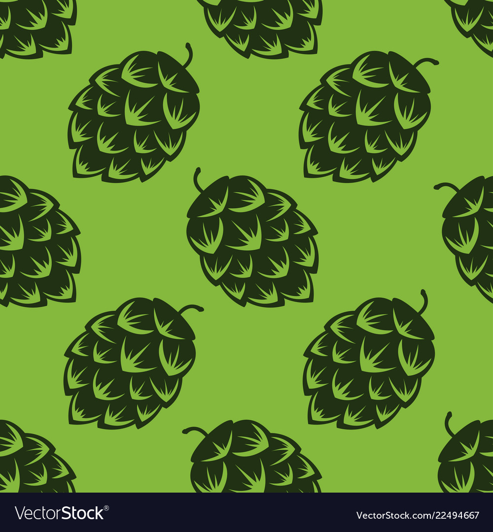 Seamless pattern with green beer hops colorful