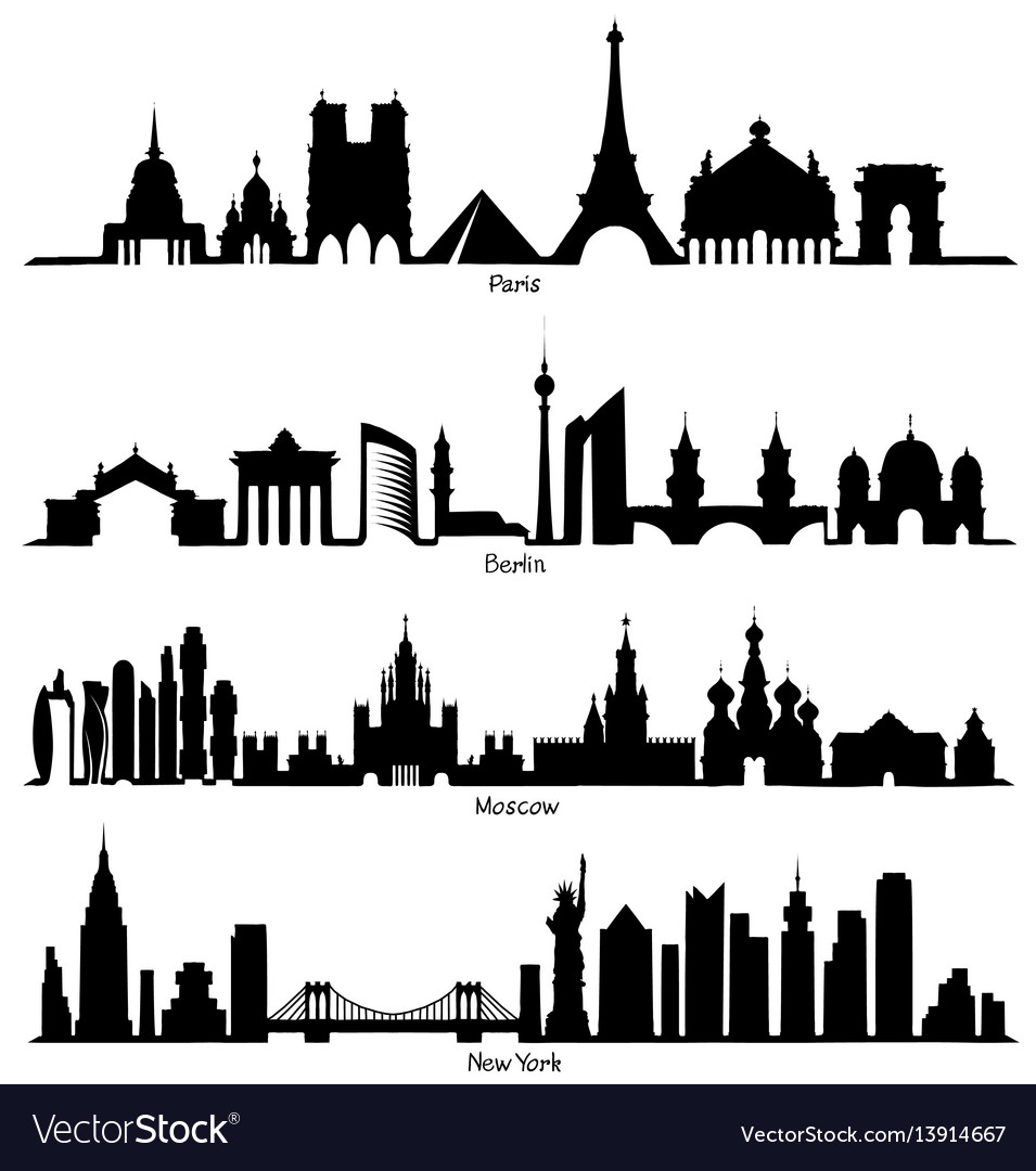 Set of skyline silhouette