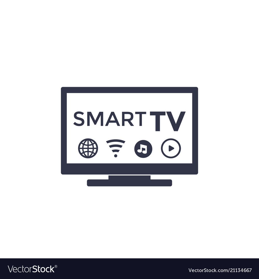 Smart tv icon on white