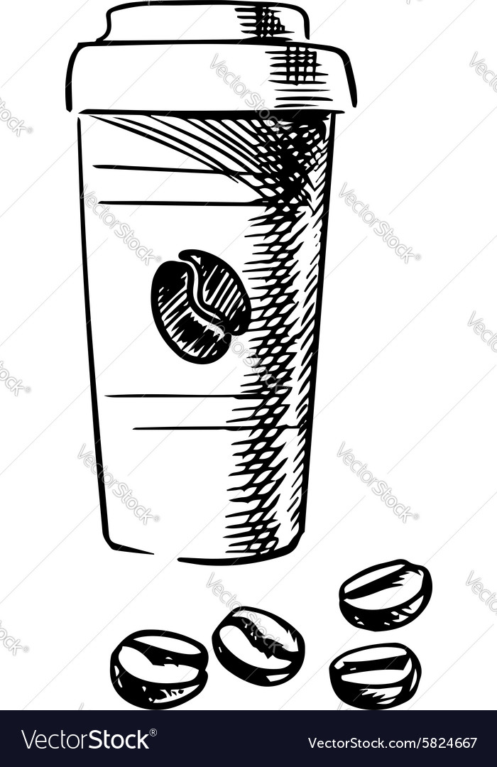 Takeaway coffee cup with beans
