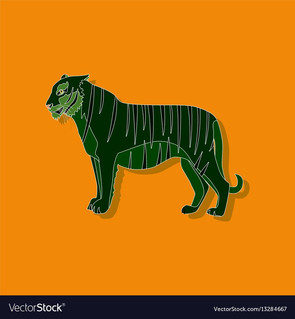 Tiger paper sticker on stylish background