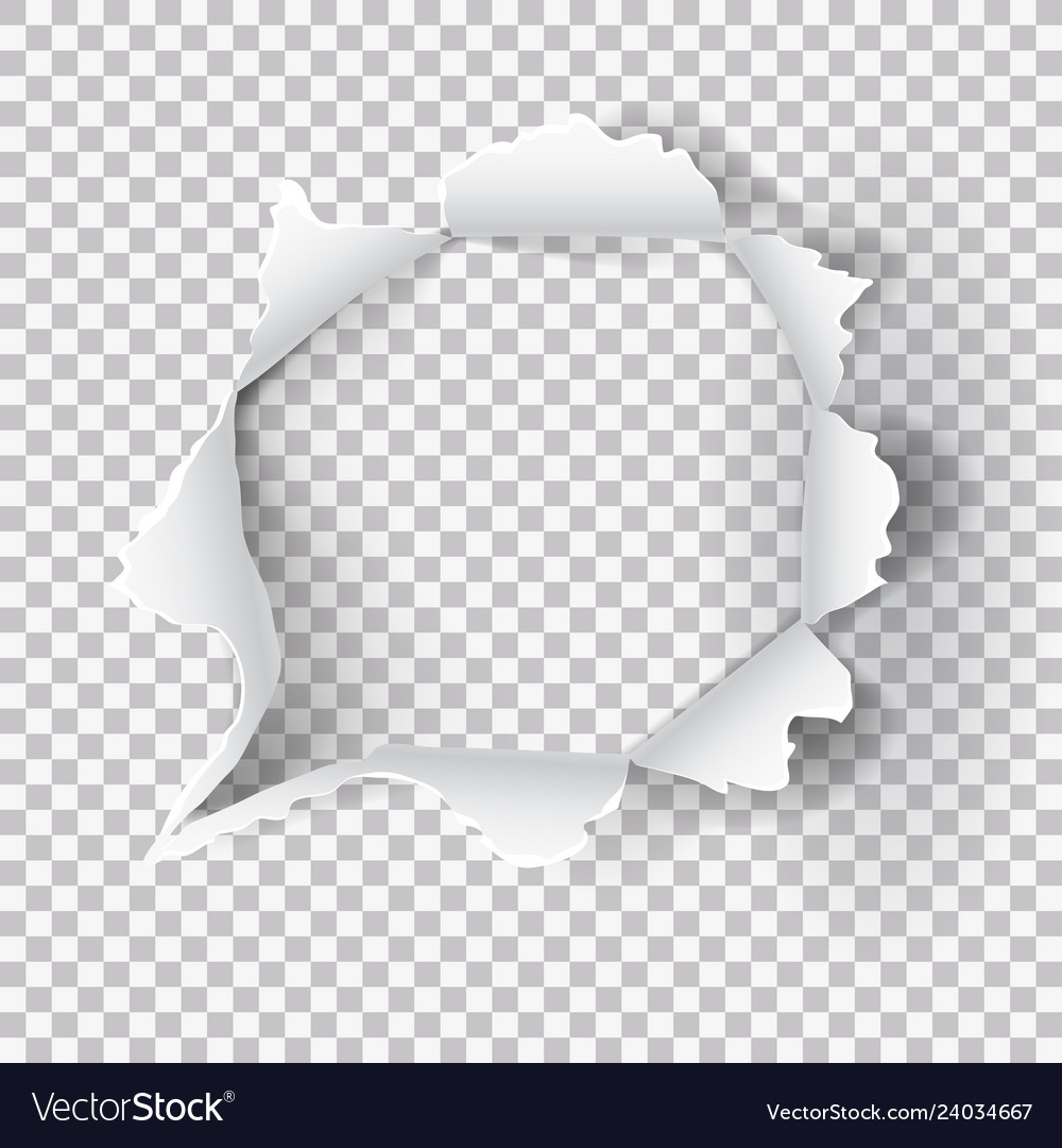Torn ripped paper hole on transparent background