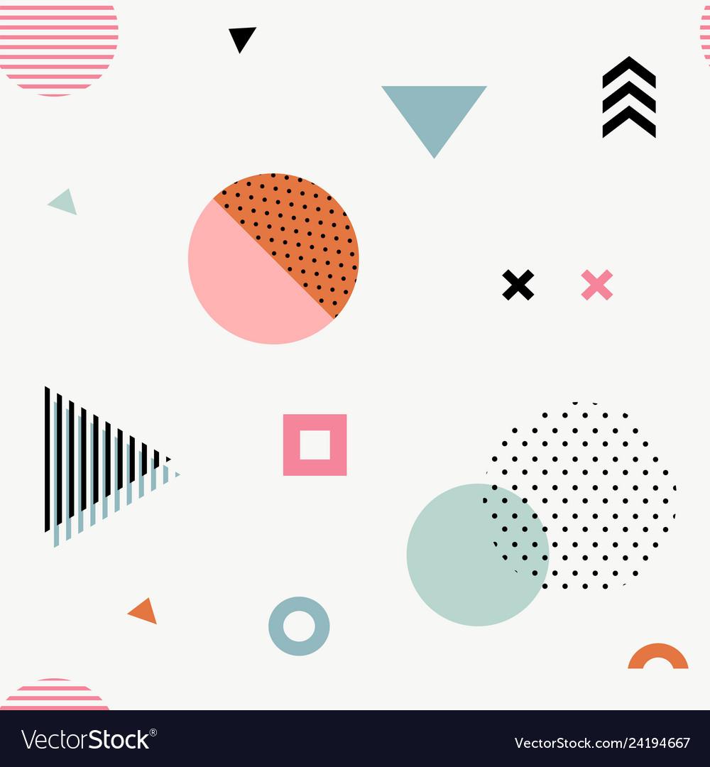 Trendy geometric memphis seamless pattern