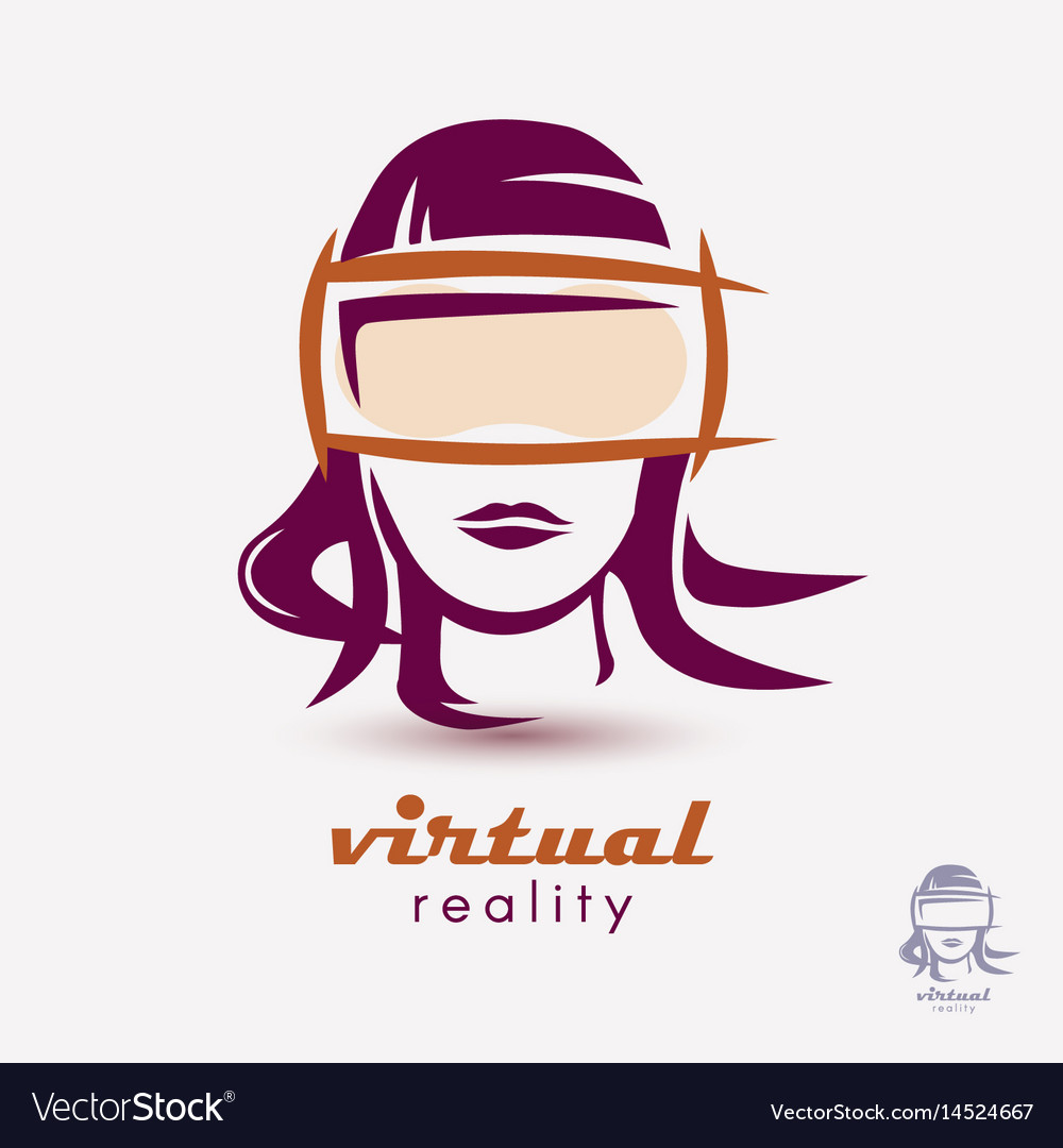 Womans head in vr glasses icon stylized logo vector image