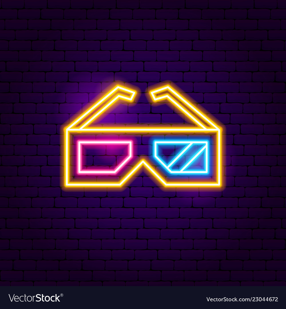 3d glasses neon sign