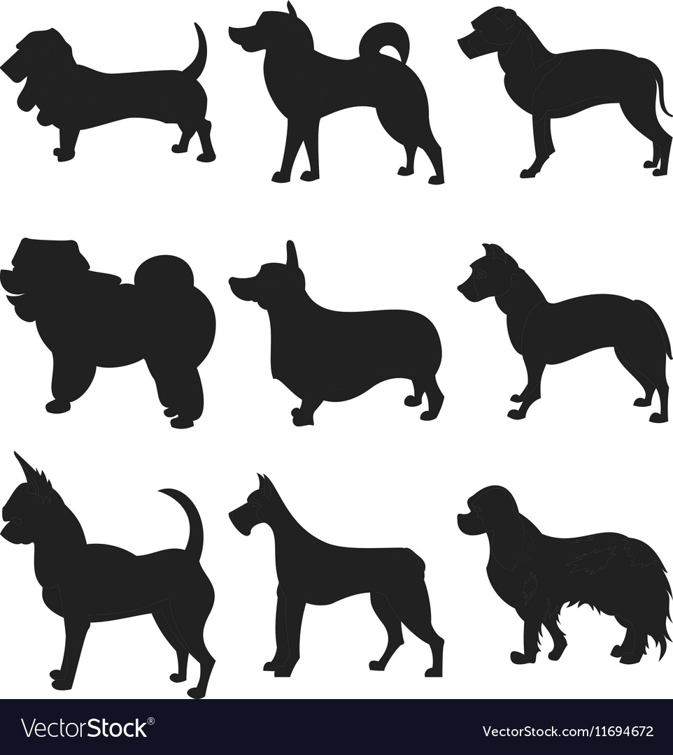 Dog Silhouettes EPS 8 grouped for easy
