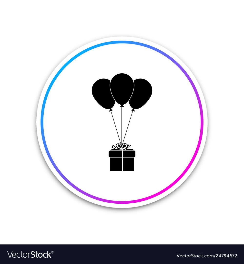 Gift box with balloons icon isolated on white