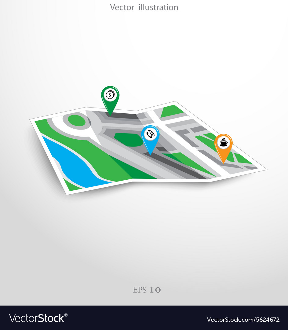 GPS city map with pointers vector image on VectorStock