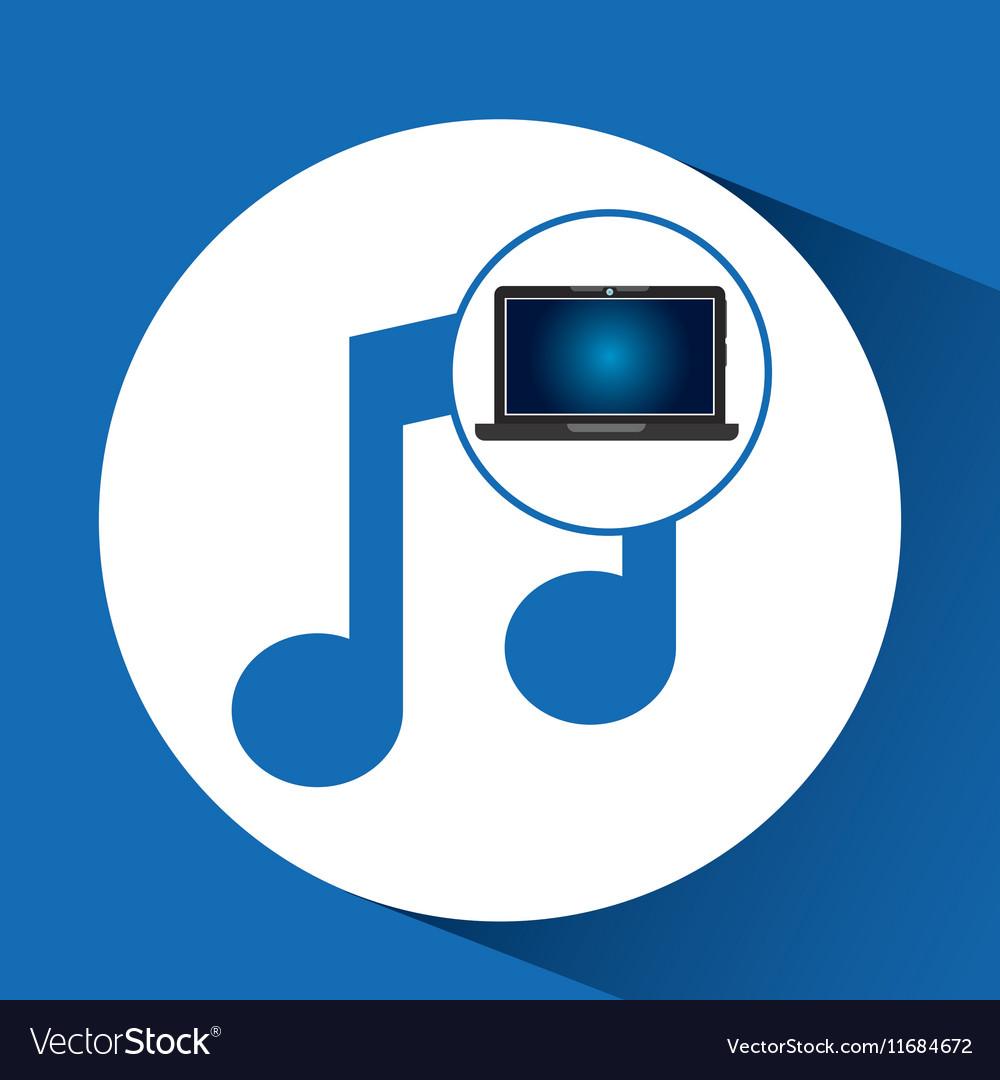 Laptop blue display music social media vector image