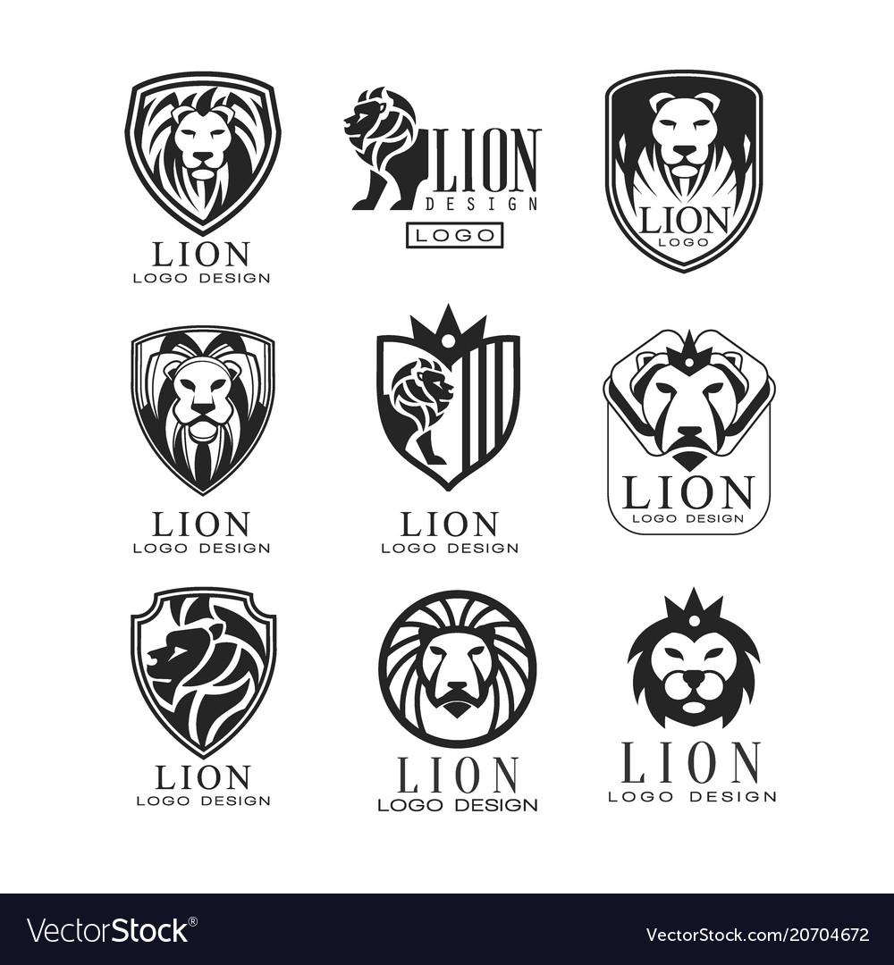 lion logo design set design element for poster vector image