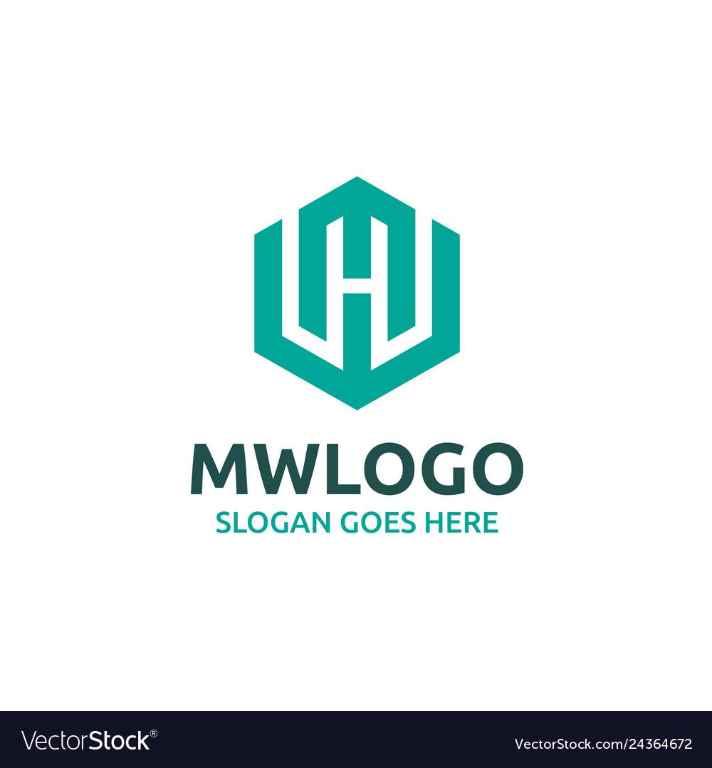 Mw letter logo design