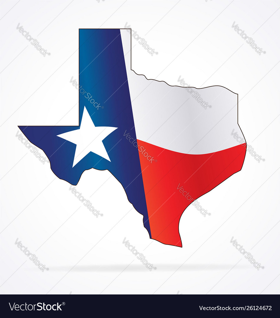 Texas tx state map with waving flag