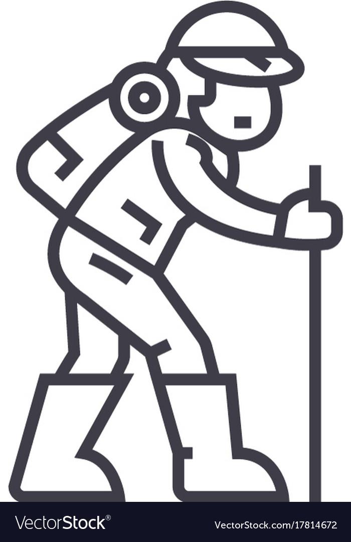 Travelerhiking man line icon sign