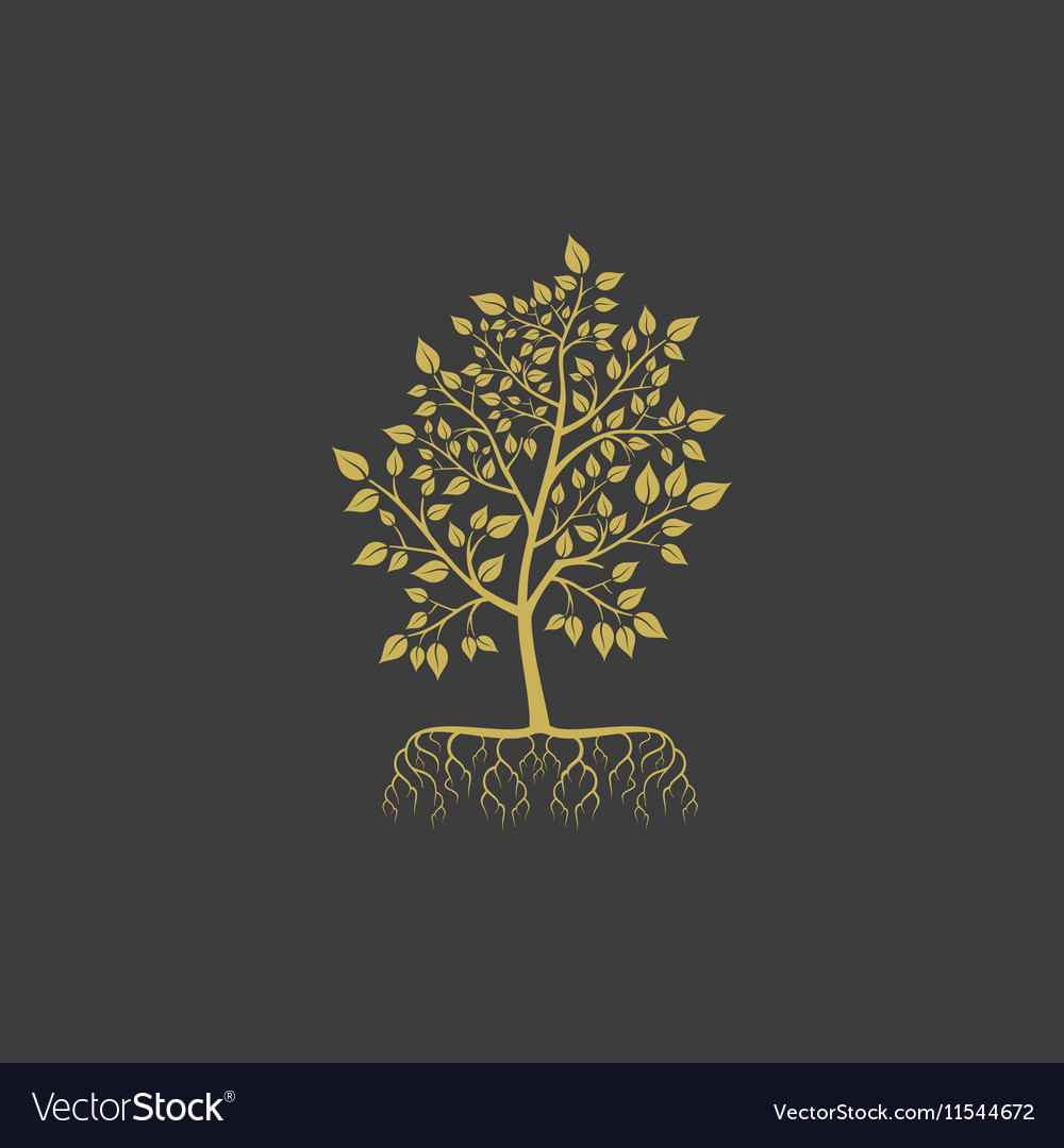 Tree with roots logo element