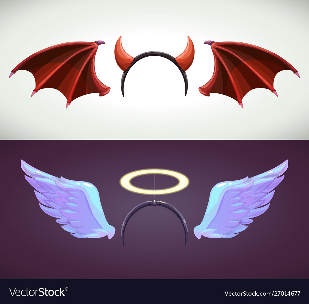 Angel and devil decor elements wing