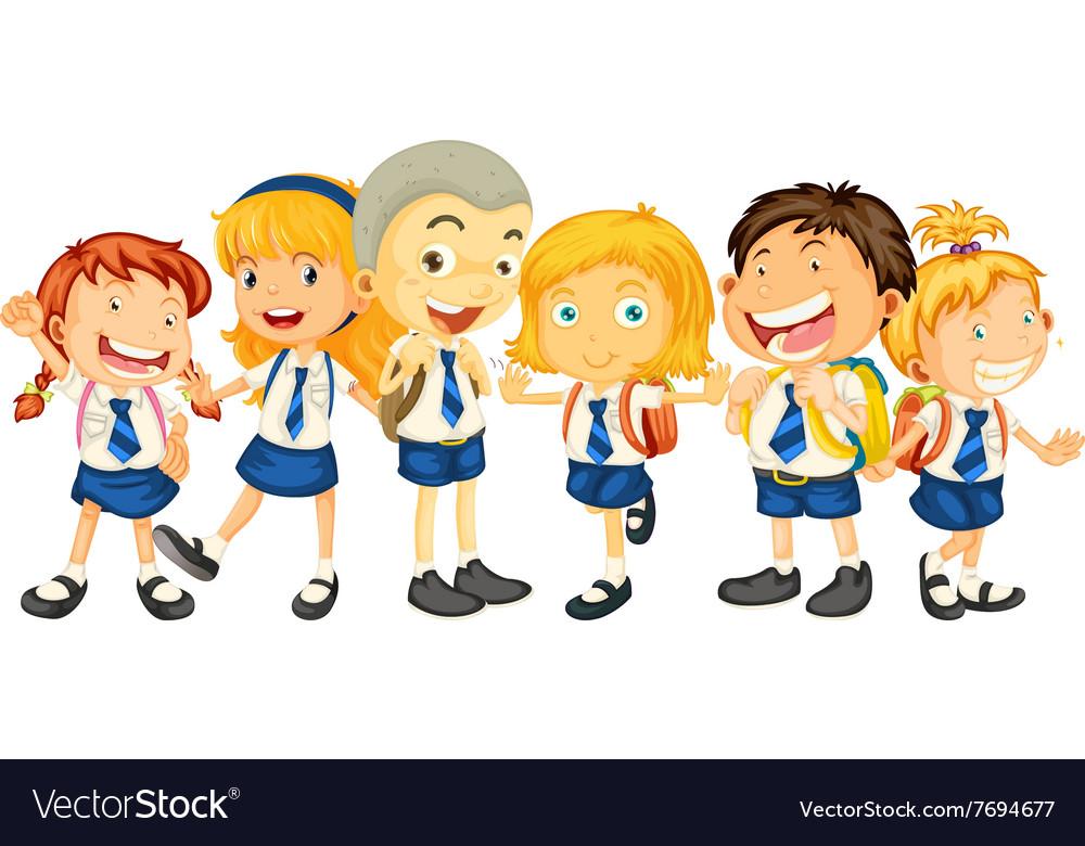 Boys and girls in school uniform