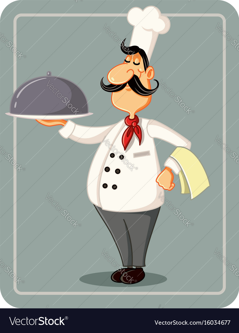 Cartoon chef holding a silver platter illus vector image