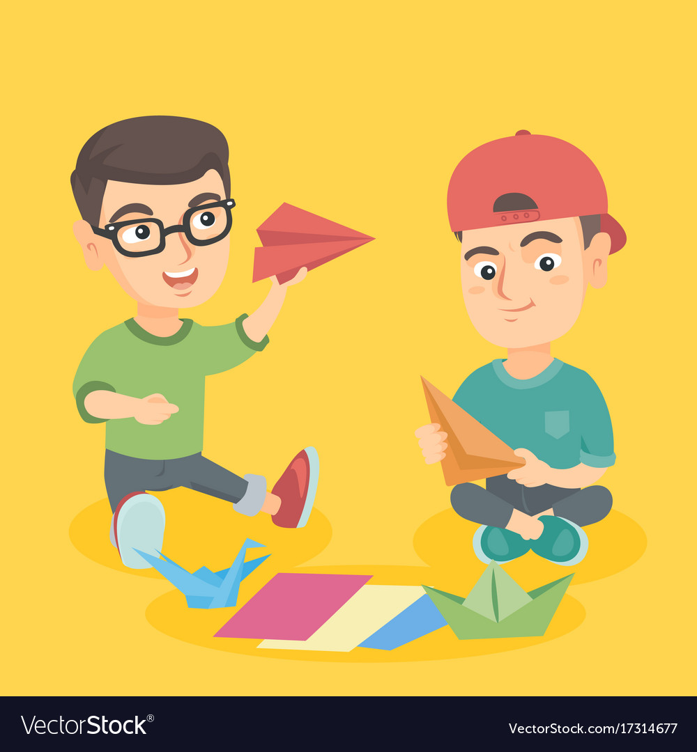 Caucasian Children Making Origami Toys From Paper Vector Image