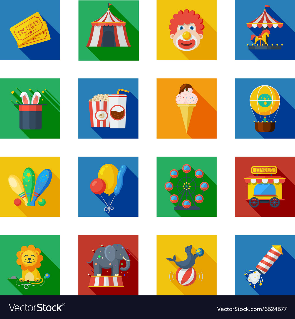 Circus icons flat