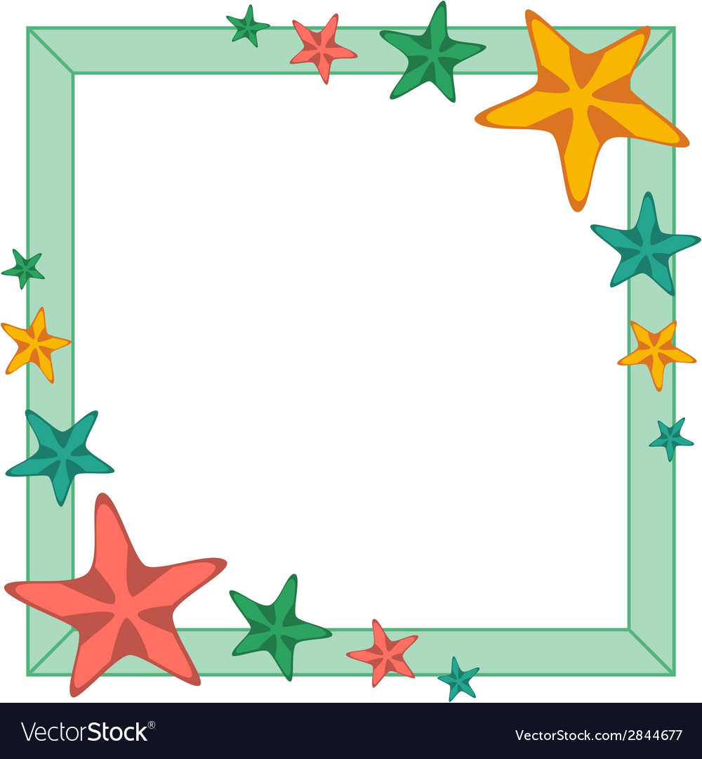 Decorative frame with cartoon starfishes vector image