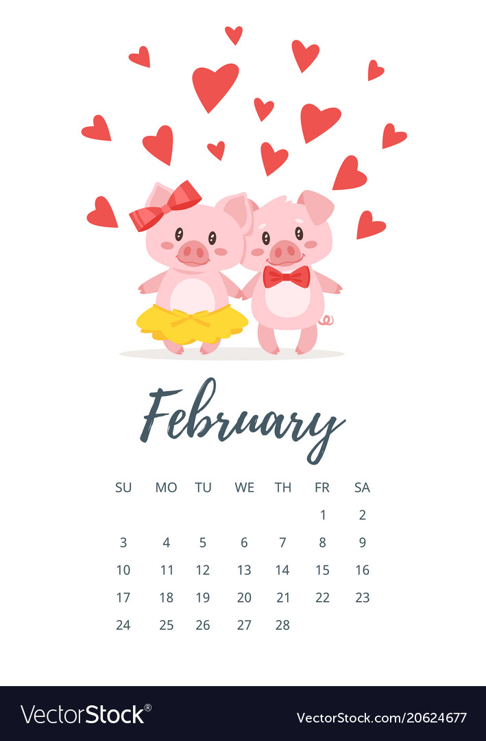 Calendar 2019 February 8 February 2019 year calendar page Royalty Free Vector Image