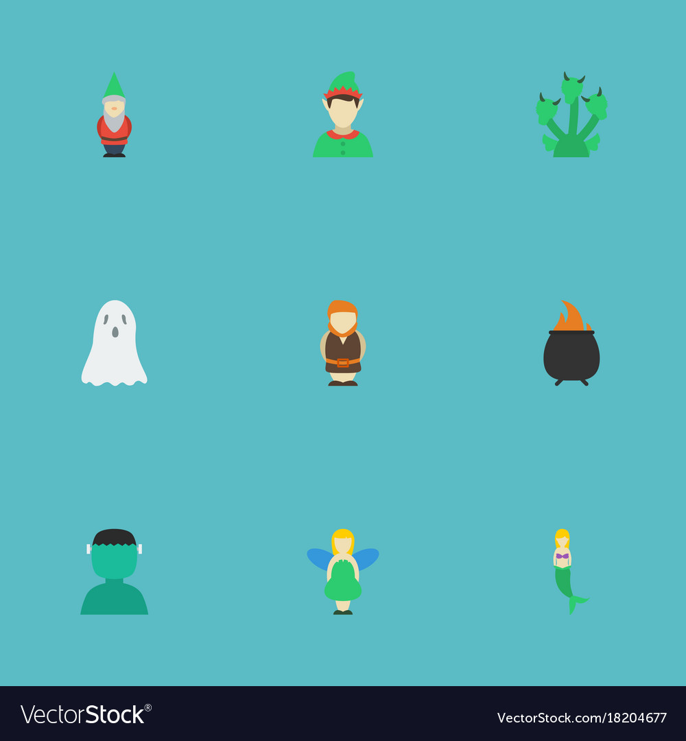 Flat icons elf halloween fish girl and other vector image