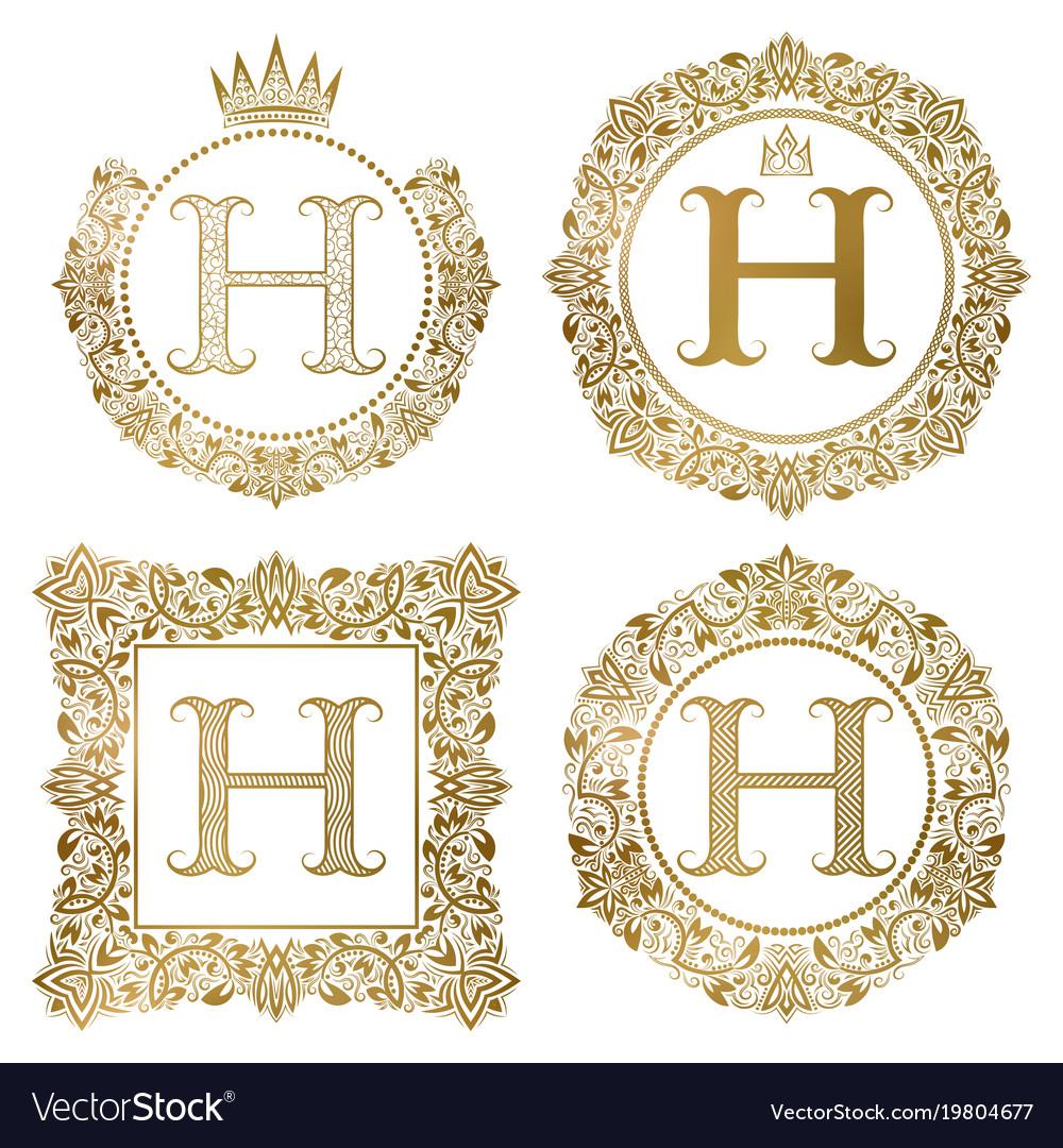 Golden letter h vintage monograms set heraldic vector image