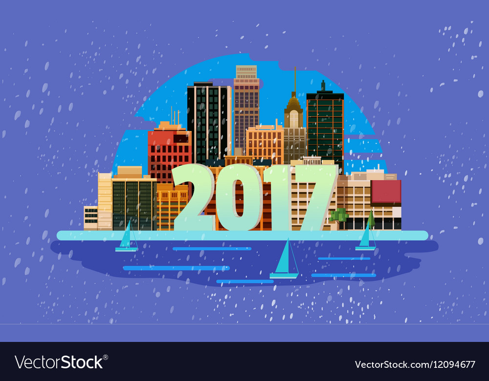 Happy New Year in town greeting card