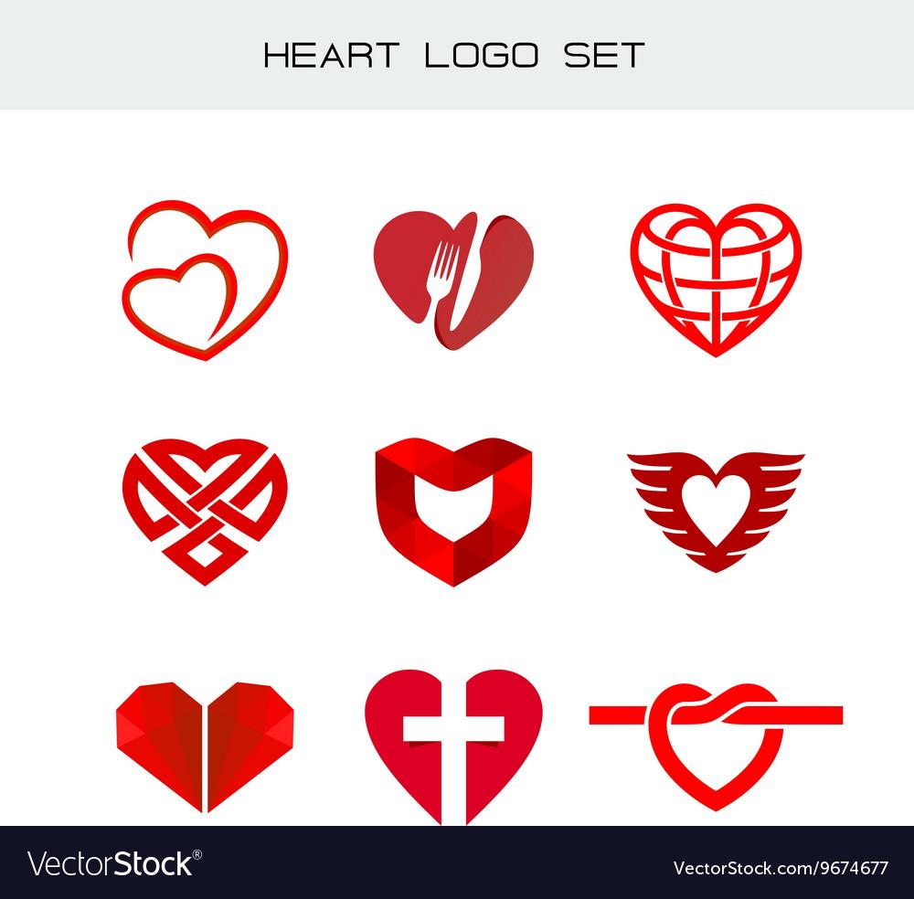 Heart logo set red heart symbols heart icon