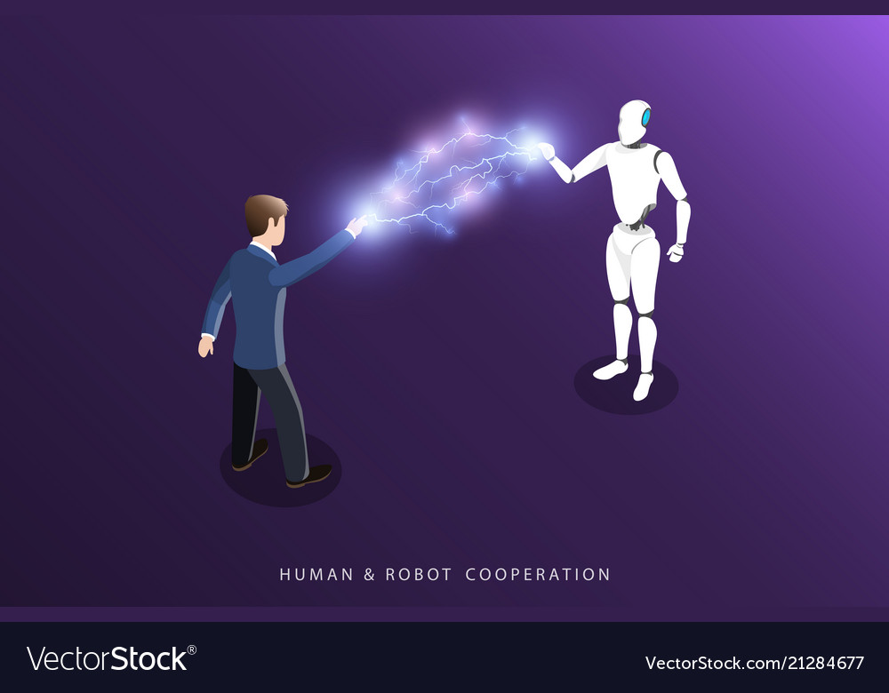 Human and robot cooperation flat isometric